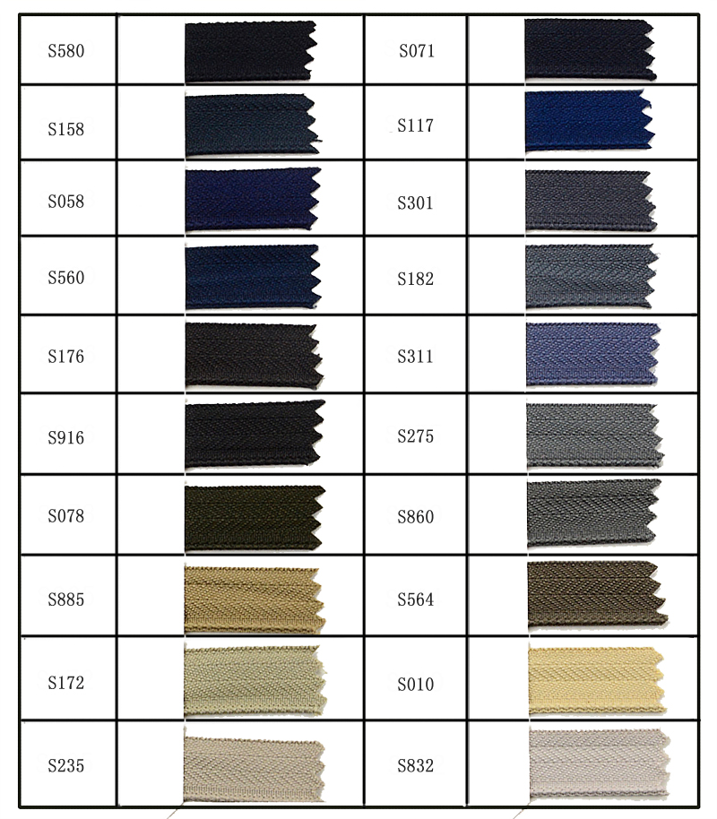 Standard Tape Color for Jeans Zipper