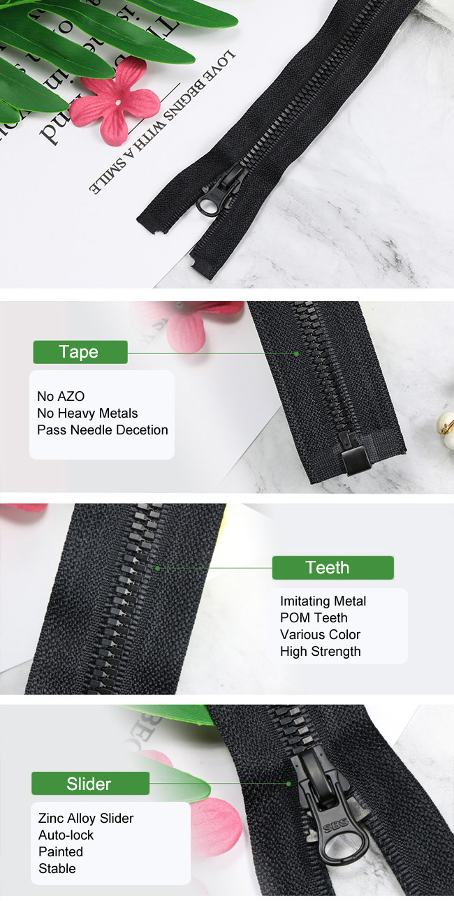 Plastic Zipper With Imitating Metal Teeth L factory