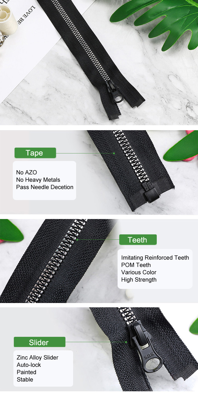 Plastic Zipper With Imitating Reinforced Teeth manufacturer
