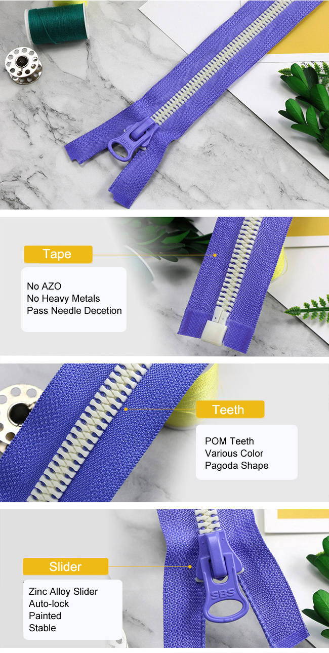 Plastic Zipper With Pagoda Teeth manufacturer